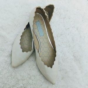 Betsey Johnson White Sparkle Pointy Toe Flats